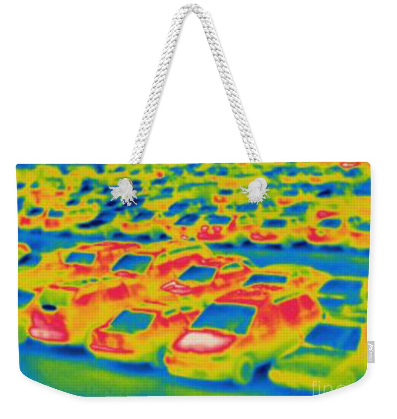 Thermogram Weekender Tote Bag featuring the photograph Thermogram Of A Parking Lot by Ted Kinsman