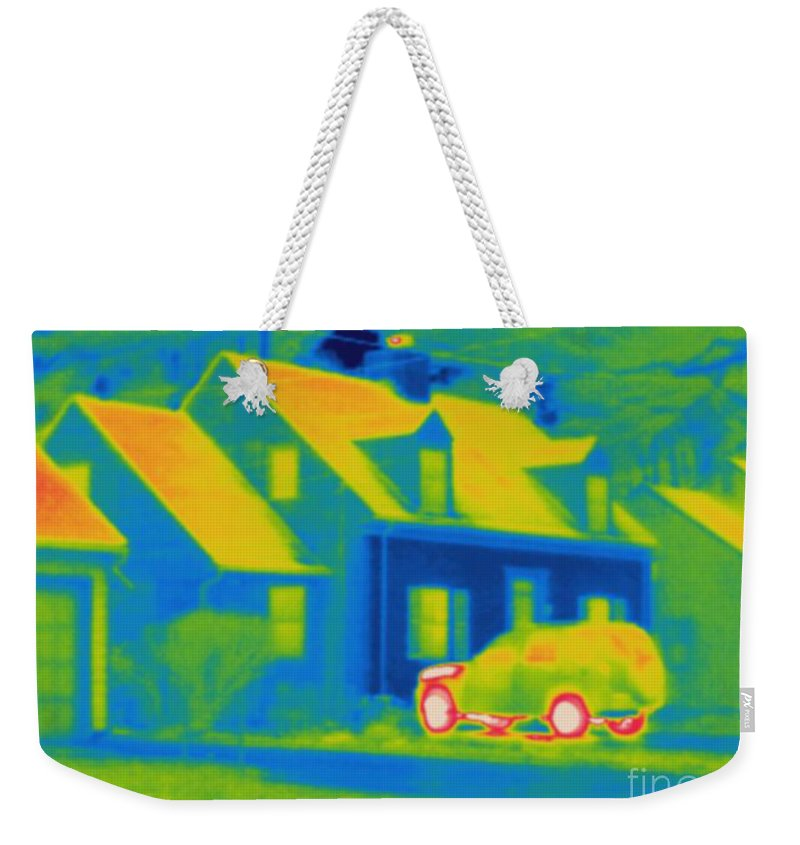 Thermogram Weekender Tote Bag featuring the photograph Thermogram Of Car In Front Of A House by Ted Kinsman