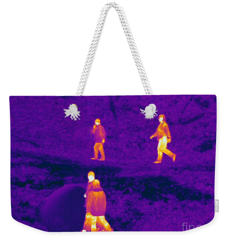Thermogram Weekender Tote Bag featuring the photograph Thermogram Of People Walking by Ted Kinsman