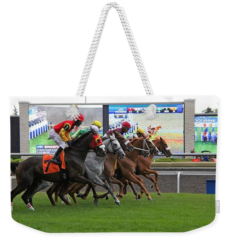 Horse Weekender Tote Bag featuring the photograph They're Off by Davandra Cribbie