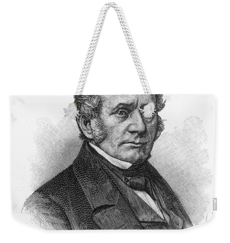 19th Century Weekender Tote Bag featuring the photograph Thomas O. Larkin (1802-1858). American Merchant And California Pioneer. Wood Engraving, 19th Century by Granger