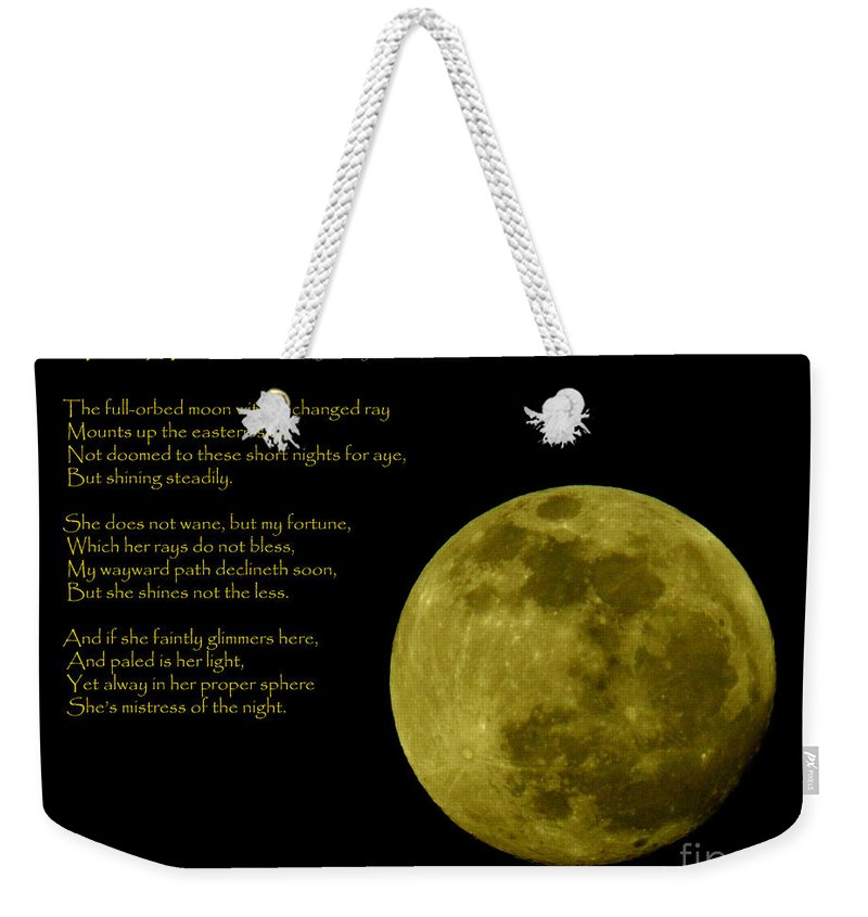 Inspirational Weekender Tote Bag featuring the photograph Thoreau's Moon by Robert Frederick