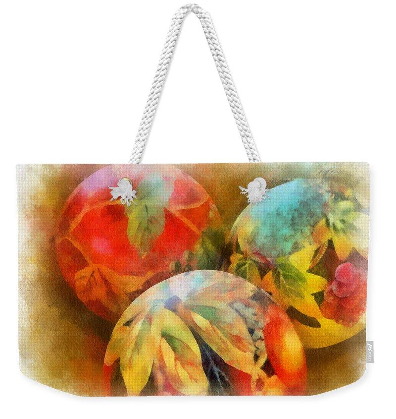 Santa Weekender Tote Bag featuring the digital art Three Balls - Watercolor by Charles Muhle