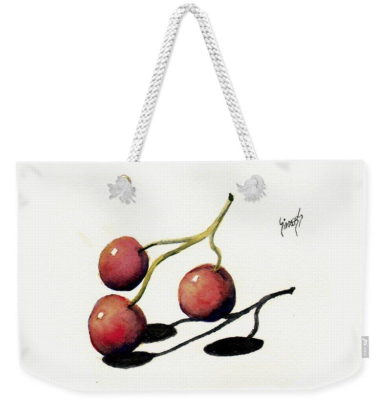 Cherry Weekender Tote Bag featuring the painting Three Cherries by Sam Sidders