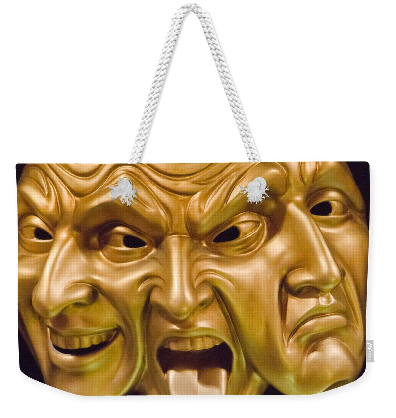 Three Faces Weekender Tote Bag featuring the photograph Three Faces by Jon Berghoff