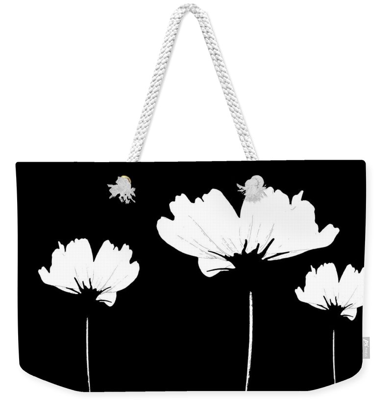 Wildflower Weekender Tote Bag featuring the mixed media Three Feeling White by Angelina Tamez