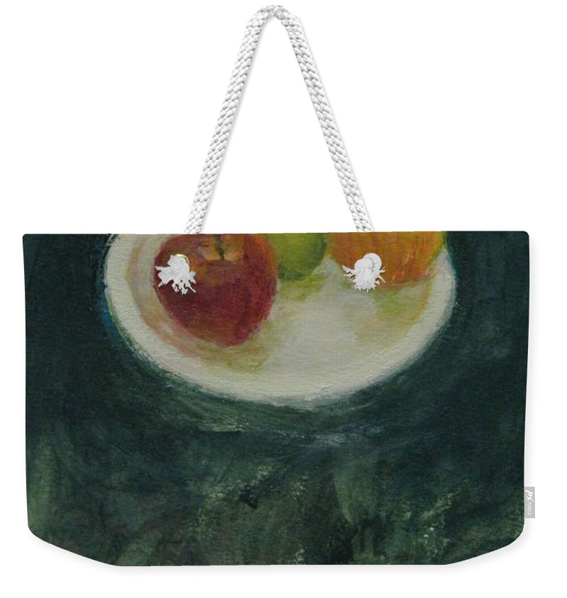 Still Life Weekender Tote Bag featuring the painting Three In Kind by Kathleen Grace