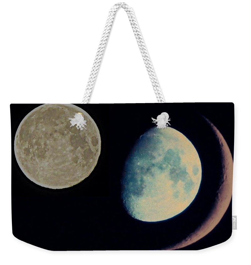 Moon Weekender Tote Bag featuring the photograph Three Moon by Marianna Mills