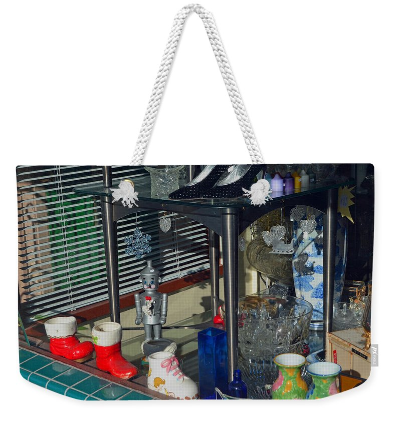 Window Shopping Weekender Tote Bag featuring the photograph Thrift Store 2 by Bill Owen