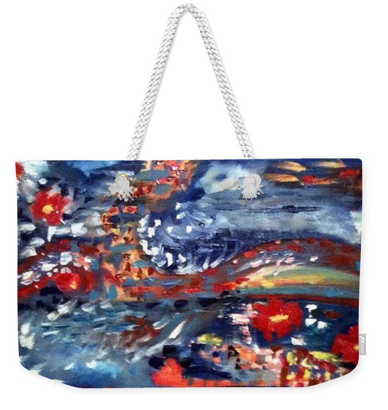 Ocean Weekender Tote Bag featuring the painting Through The Night by Sandra Konstantinovic
