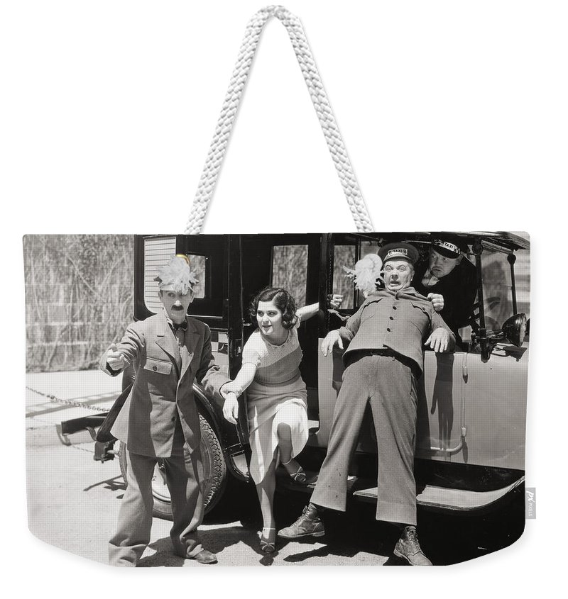 -transportation: Automobiles- Weekender Tote Bag featuring the photograph Thundering Taxi, 1933 by Granger