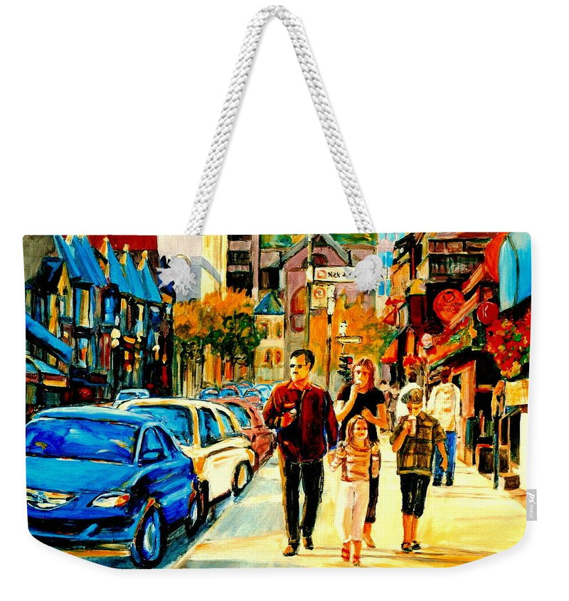 Montreal Weekender Tote Bag featuring the painting Thursdays Pub On Crescent Street Montreal City Scene by Carole Spandau