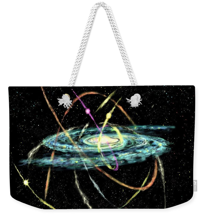 Astronomy Weekender Tote Bag featuring the digital art Tidal Disruption Of Dwarf Spheroidal Galaxies by Russell Kightley