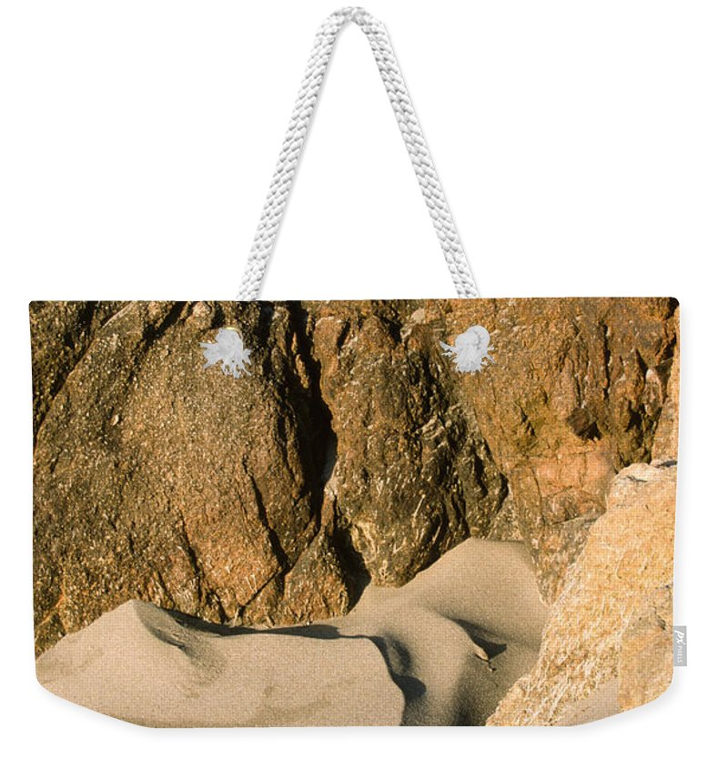 Harris Beach Weekender Tote Bag featuring the photograph Tide Sculpture by Sandra Bronstein