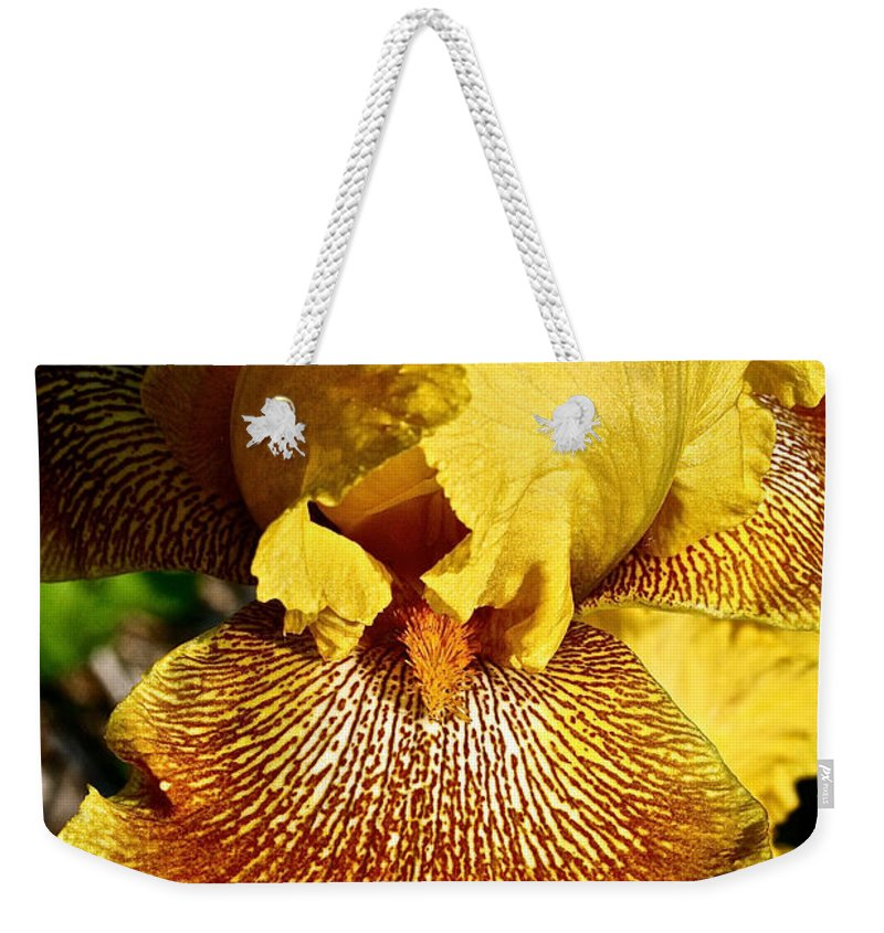Plant Weekender Tote Bag featuring the photograph Tiger Iris by Susan Herber