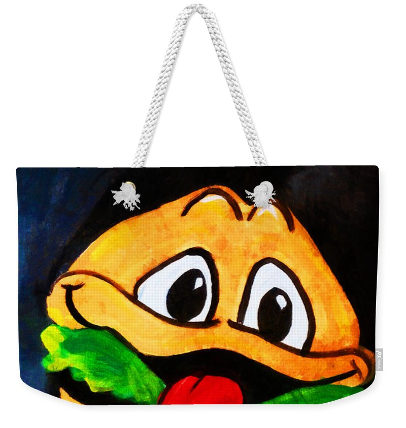 Time Weekender Tote Bag featuring the digital art Time For A Happy Burger by Steve Taylor
