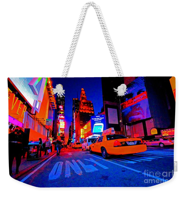 Times Weekender Tote Bag featuring the photograph Times Square Nitelife by Rob Hawkins