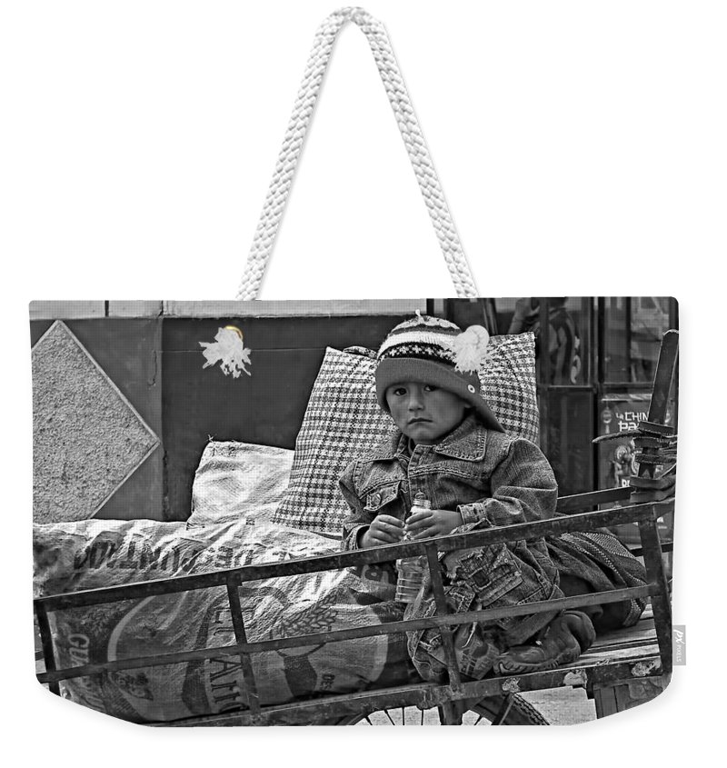 Peru Weekender Tote Bag featuring the photograph Tiny Biker 2 Monochrome by Steve Harrington