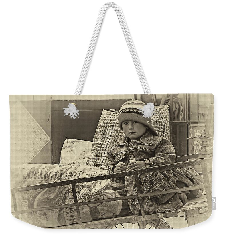 Peru Weekender Tote Bag featuring the photograph Tiny Biker 2 Sepia by Steve Harrington