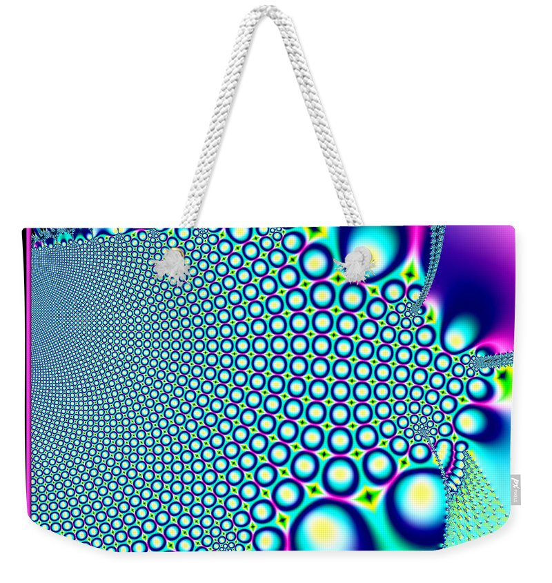 Bubble Weekender Tote Bag featuring the digital art Tiny Rainbow Bubbles Fractal 98 by Rose Santuci-Sofranko