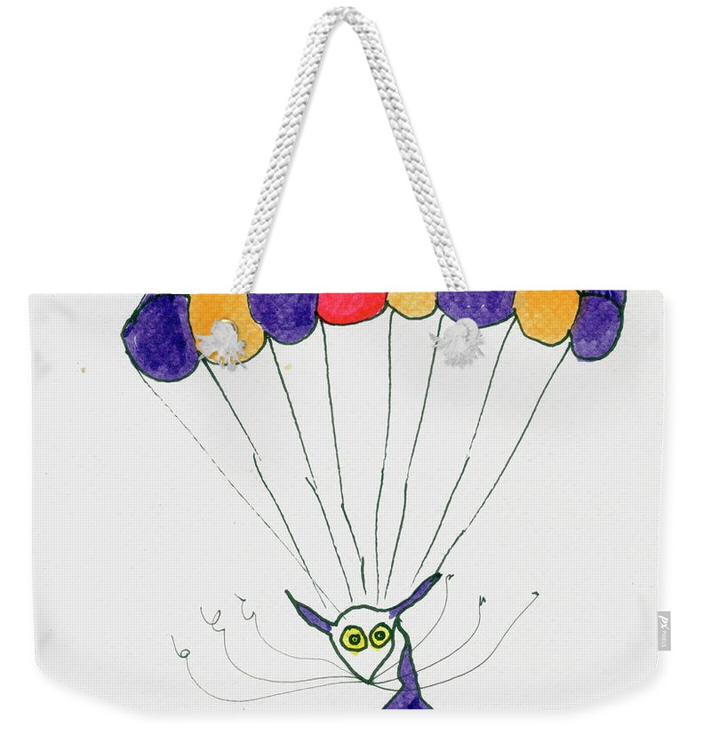Purple Weekender Tote Bag featuring the painting Tis Just Dropping In by Tis Art