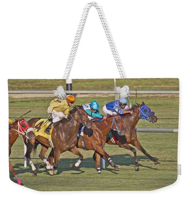 Horse Weekender Tote Bag featuring the photograph To The Line by Betsy Knapp
