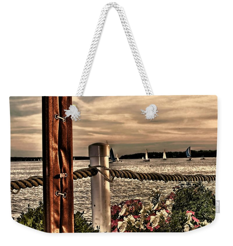 Oceans Weekender Tote Bag featuring the photograph Top Of The Bay by Tom Prendergast