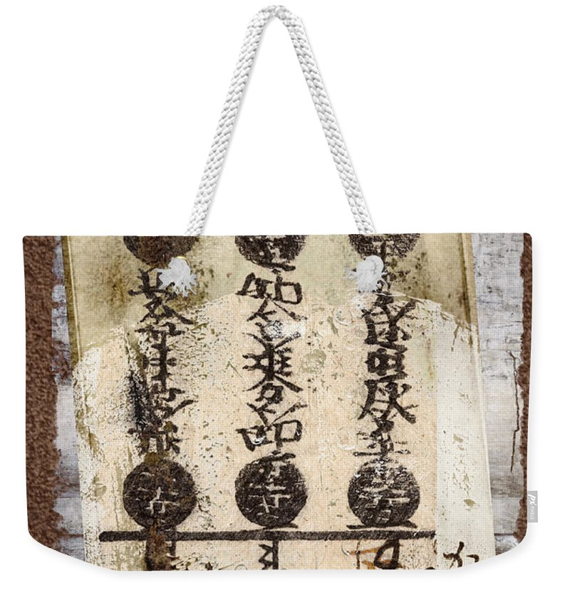 Torn Weekender Tote Bag featuring the photograph Torn Papers On Wall Number 2 by Carol Leigh