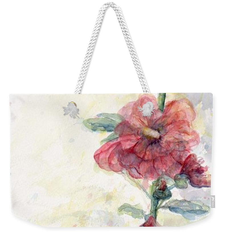 Watercolor Weekender Tote Bag featuring the painting Touch Of Summer Hollyhocks Watercolor by CheyAnne Sexton