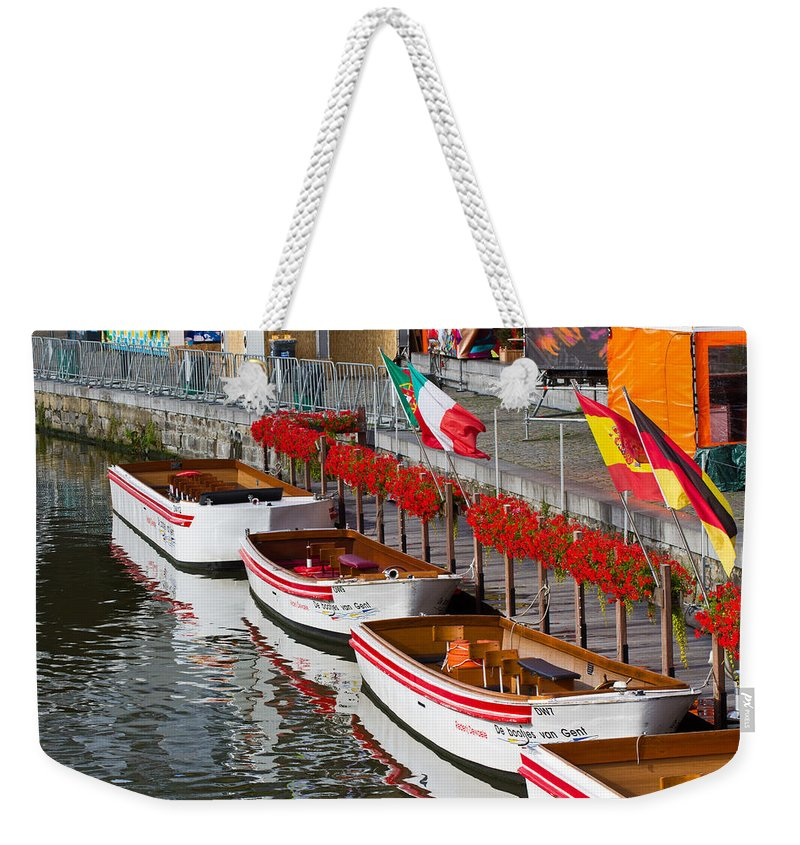 Europe Weekender Tote Bag featuring the photograph Tour Boats by David Freuthal