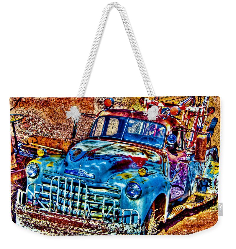 Old Truck Weekender Tote Bag featuring the photograph Tow Truck by Jon Berghoff