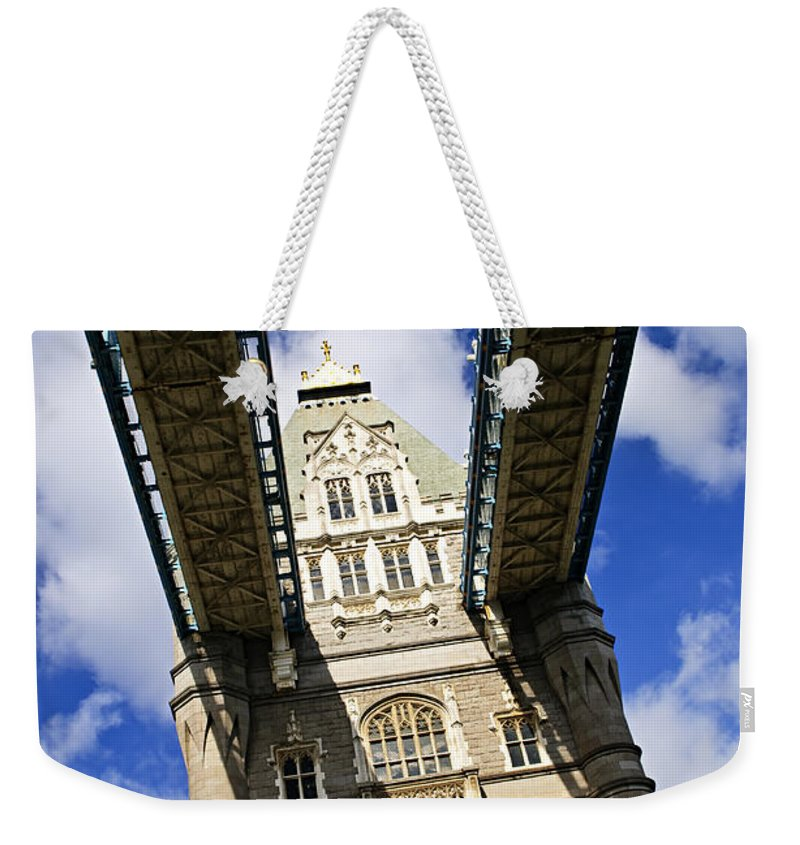 Tower Weekender Tote Bag featuring the photograph Tower Bridge In London by Elena Elisseeva