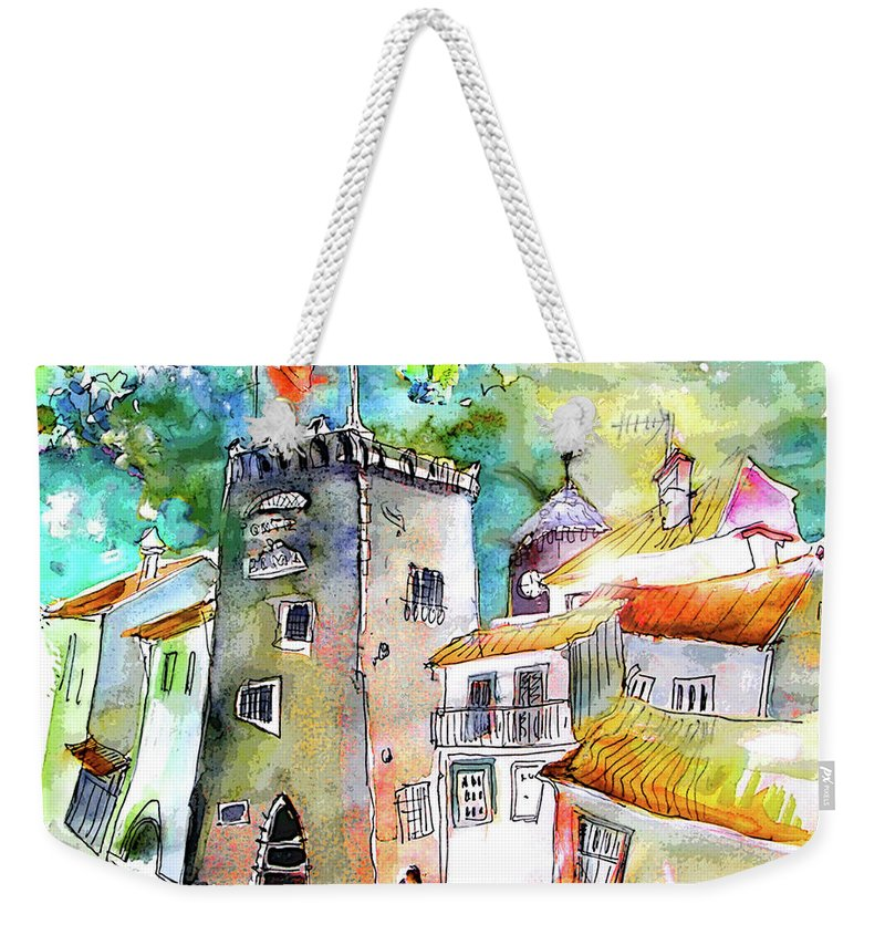 Portugal Weekender Tote Bag featuring the painting Tower in Ponte de Lima in Portugal by Miki De Goodaboom