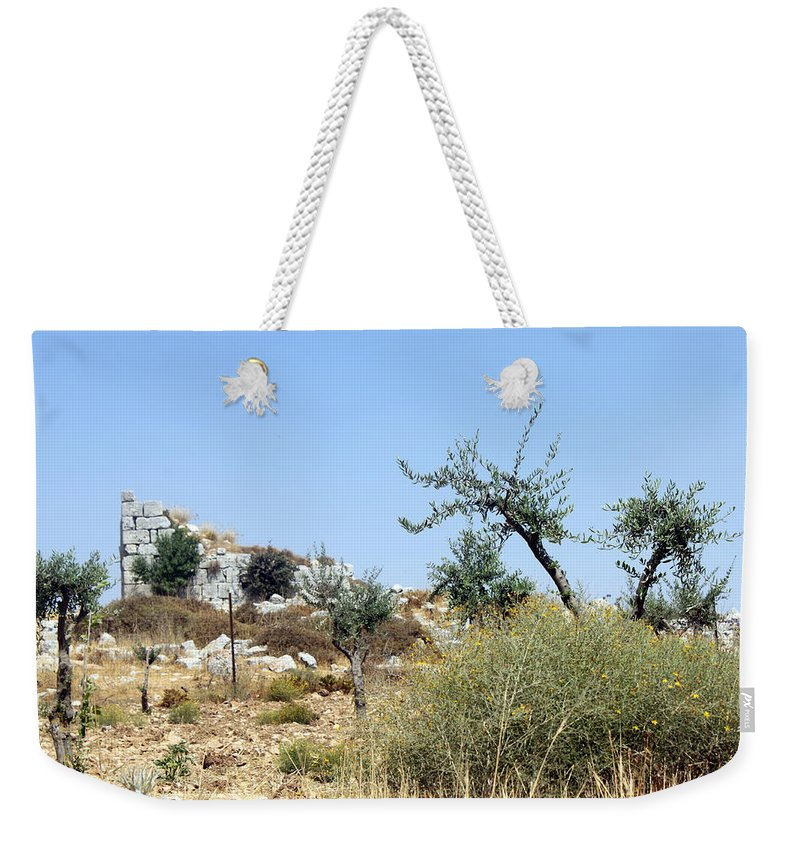 Beitin Weekender Tote Bag featuring the photograph Tower Of Beitin - Biblical Bethel by Munir Alawi