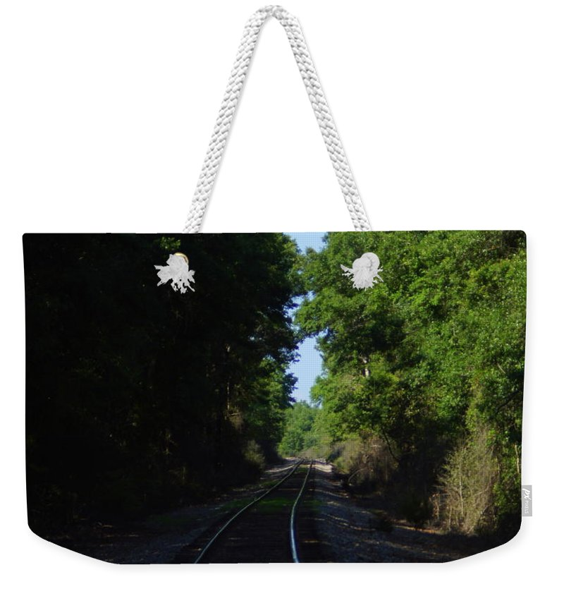 Railroad Weekender Tote Bag featuring the photograph Tracks by Paul Wilford