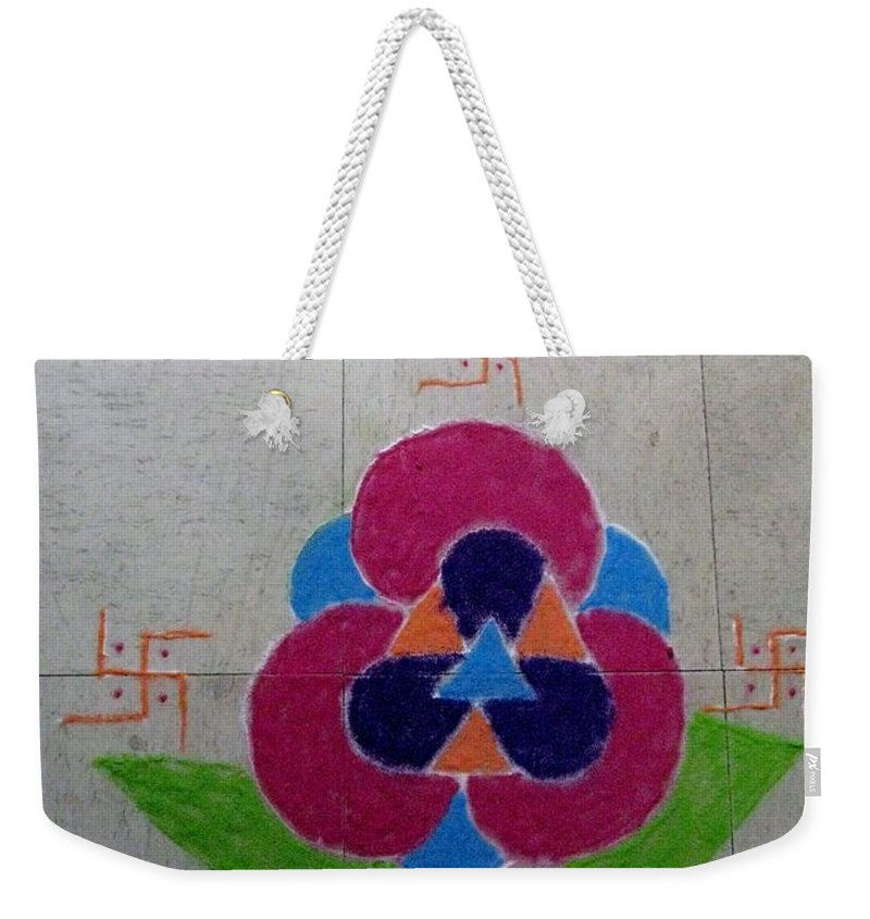 Rangoli Weekender Tote Bag featuring the drawing Tradition by Sonali Gangane