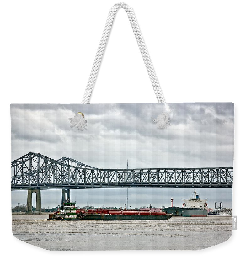 Mississippi River Weekender Tote Bag featuring the photograph Traffic Jam by Steve Harrington