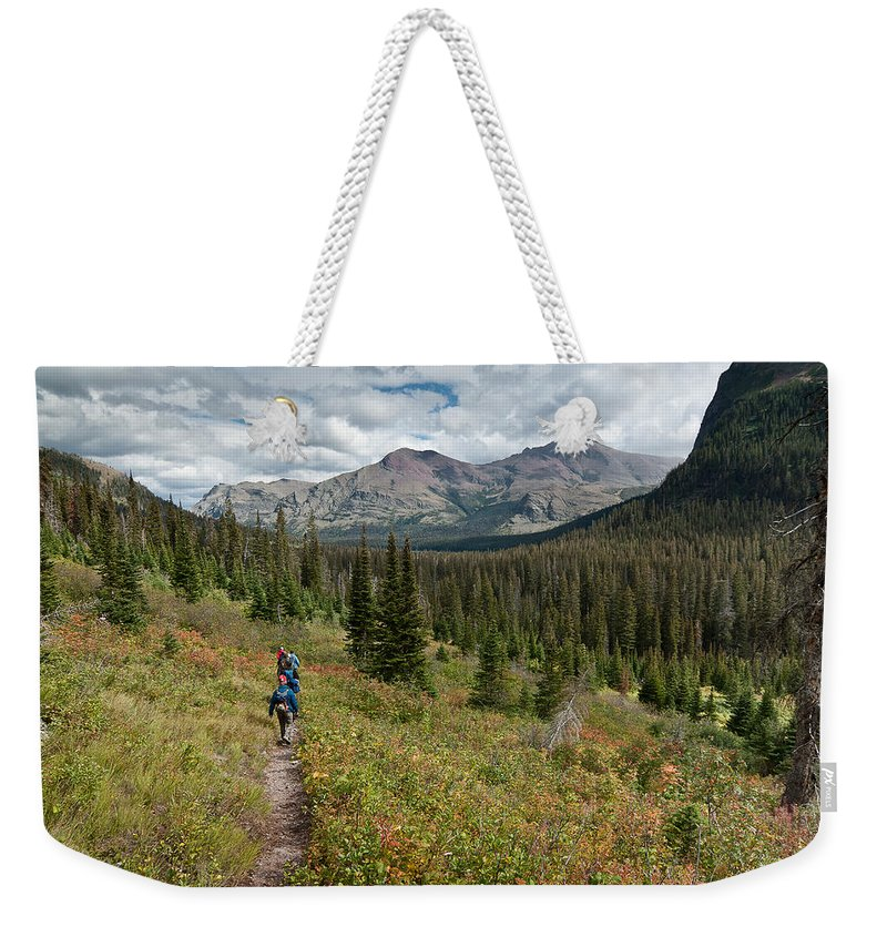 Glacier National Park Weekender Tote Bag featuring the photograph Trail Through Bear Country by Greg Nyquist