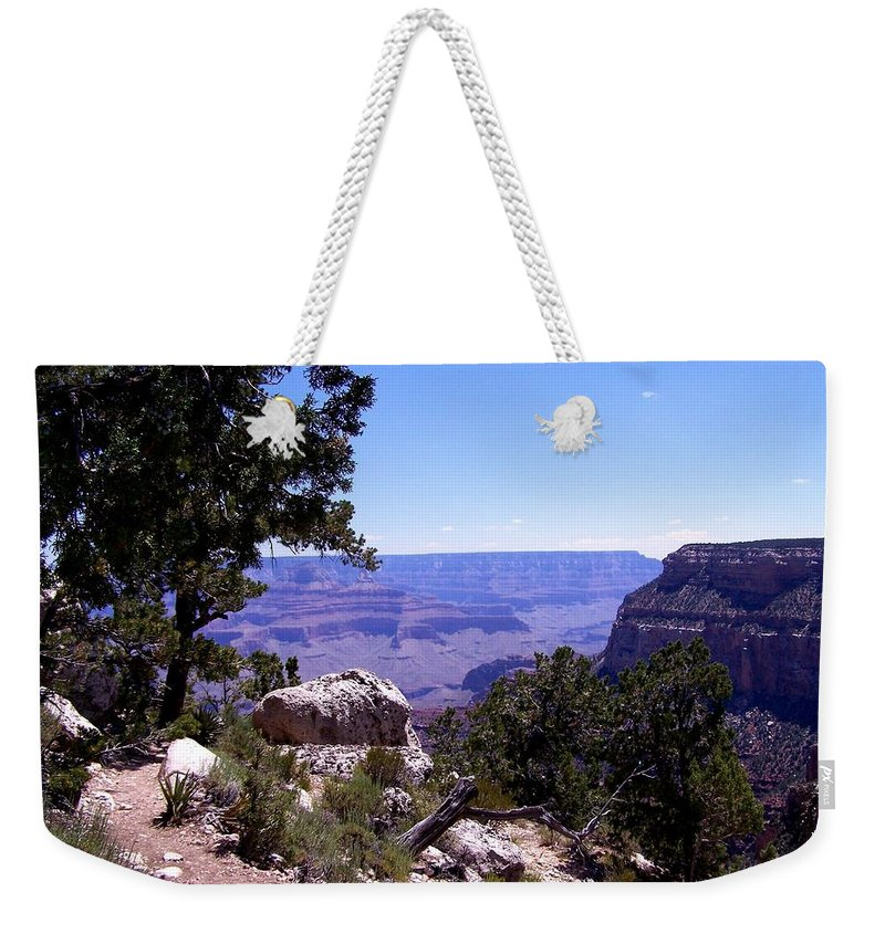 Grand Canyon Weekender Tote Bag featuring the photograph Trail To The Canyon by Dany Lison