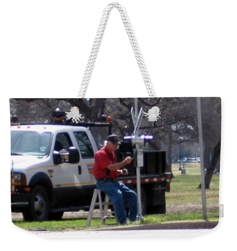 Trains Weekender Tote Bag featuring the photograph Train Crossing by Amy Hosp
