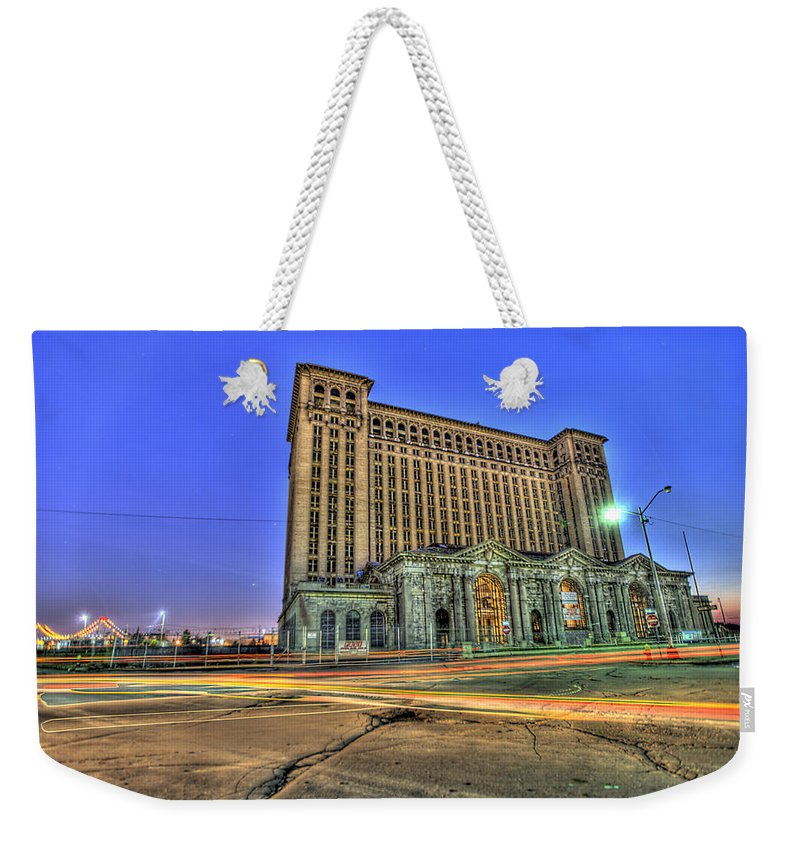 Michigan Central Weekender Tote Bag featuring the photograph Michigan Central Train Depot Station Detroit Mi by Nicholas Grunas