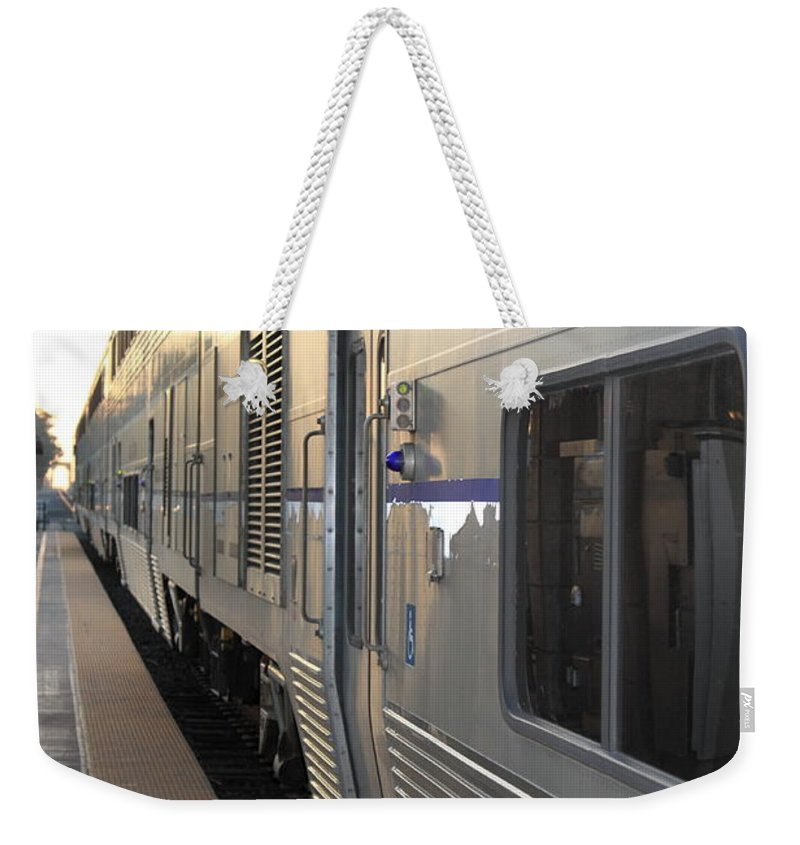 Railroad Weekender Tote Bag featuring the photograph Train by Henrik Lehnerer
