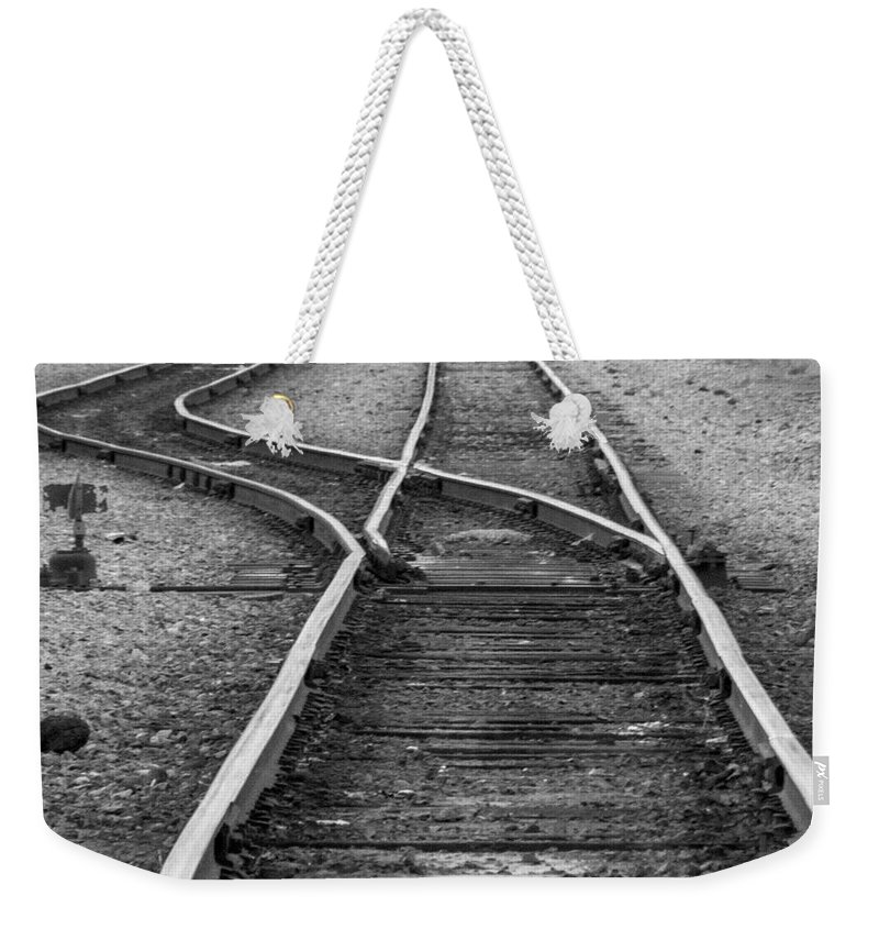 Railroad Weekender Tote Bag featuring the photograph Train Tracks Switch by Darleen Stry
