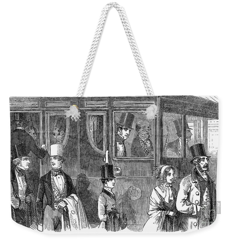 1847 Weekender Tote Bag featuring the photograph Train Travel: First Class by Granger