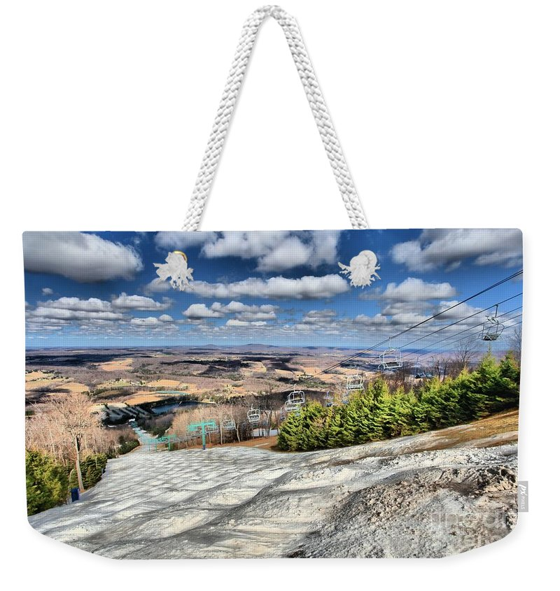 Skiing Weekender Tote Bag featuring the photograph Transition by Adam Jewell