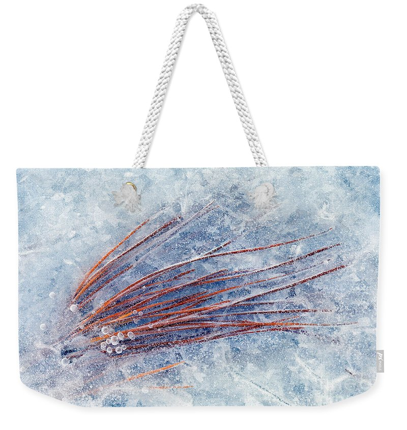 Ice Weekender Tote Bag featuring the photograph Trapped In Winter by Mike Dawson