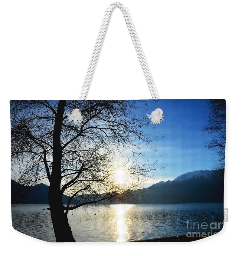 Tree Weekender Tote Bag featuring the photograph Tree And Lake by Mats Silvan