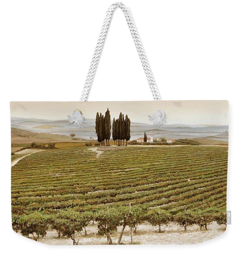 Tuscan; Italian Landscape; Rural; ; Vines; Wine; Viticulture; Countryside; Rural; Tuscany; Italy; Vineyard Weekender Tote Bag featuring the painting Tree Circle - Tuscany by Trevor Neal