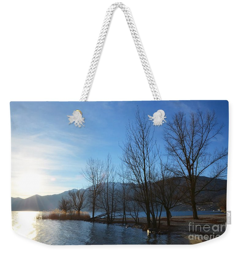 Sun Weekender Tote Bag featuring the photograph Trees With Sunlight by Mats Silvan