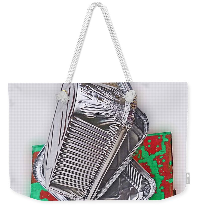 Tray Weekender Tote Bag featuring the painting Tres Bad by Charles Stuart